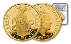 2018 Great Britain 1-oz Gold Queen's Beasts Black Bull NGC PF70UCAM First Struck