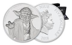 2018 Niue 5 Dollar 2-oz Silver Star Wars Yoda Ultra-High Relief Proof