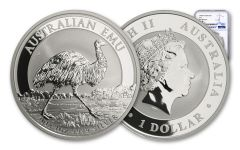 2018 Australia 1 Dollar 1-oz Silver Emu NGC MS70 First Releases