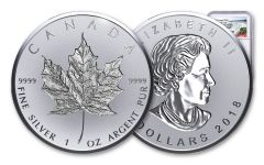 2018 Canada 1-oz Silver Incuse Maple Leaf Reverse Proof NGC PF70UCAM First Releases