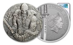 2017 Cook Islands 2-oz Silver Yi Soon Shin Ultra High Relief Antiqued NGC MS70