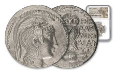 132-131 B.C. Greek Silver New Style Owl Tetradrachm B/ME NGC AU