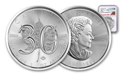 2018 Canada 5 Dollar 1-oz Silver Maple Leaf 30th Anniversary Design NGC MS69 First Releases