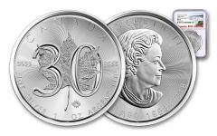 2018 Canada 5 Dollar 1-oz Silver Maple Leaf 30th Anniversary Design NGC MS69