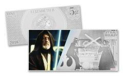 2018 Niue 1 Dollar 5 Gram Silver Foil Star Wars Obi-Wan Kenobi Colorized Proof-Like Note