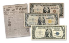 1935 1 Dollar Silver Certificate Currency World War 2 Set Fine 3pc