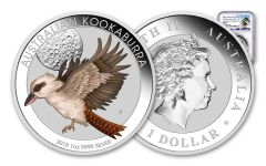 2018 Australia 1-oz Silver Kookaburra Colorized World Money Fair NGC MS70