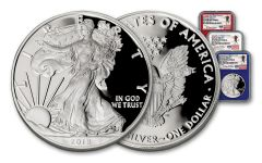 2018-W 1 Dollar 1-oz Silver Eagle NGC PF70UCAM First Day Of Issue Travis Mills Signed 3pc Set - Red White Blue