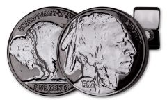 1930s 5 Cent Buffalo Black Ruthenium and Silver Plating