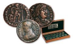 A.D. 253-383 Bronze Rise and Fall of Roman Empire 20-Coin Collection with Case