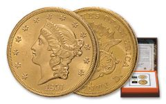 1857-S $20 Gold Liberty SS Central America PCGS MS62