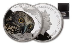 2018 Tuvalu $1 Powerful Owl 1 Ounce Silver Proof
