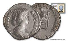 A.D. 147–175/6 Ancient Roman Empire Silver Denarius of Faustina Jr. Golden Age Hoard NGC VF