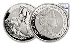 2018 British Virgin Islands 1 Dollar 1-oz Silver Pegasus Reverse PF69 Early Releases
