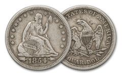1854-1855 Silver Quarter Seated Liberty with Arrows XF