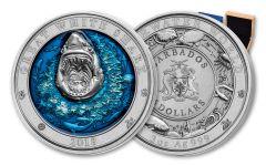 2018 Barbados 5 Dollar 3-oz Silver Great White Shark Ultra High Relief Antique
