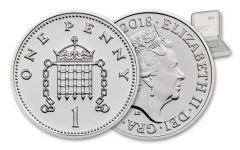 2018 Great Britain 1 Pence Silver Royal Birth Penny BU