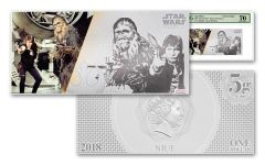 2018 Niue 5 Gram $1 Silver Foil Star Wars Han Solo & Chewbacca PMG GEM UNC 70 Colorized Note