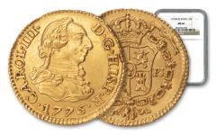 1775 Spain Gold Half Escudo Madrid NGC MS61