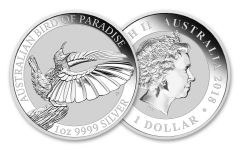 2018 Australia 1 Dollar 1-oz Silver Bird of Paradise BU