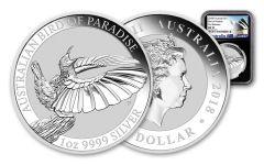 2018 Australia 1 Dollar 1-oz Silver Bird of Paradise NGC MS70 First Releases - Black