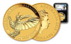 2018 Australia 100 Dollar 1-oz Gold Bird of Paradise NGC MS69 First Releases - Black