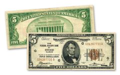 1929 Series $5 Federal Reserve Bank Currency Note VF