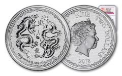 2018 Niue 1-Ounce $2 Silver Double Dragon Pearl of Wisdom NGC MS70 First Releases - Dragon Label