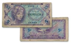 1965-1968 Vietnam Series 641 Military Payment Certificate 5 Cents Currency Note Circulated