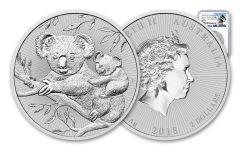 2018 Australia 2 Dollar 2-oz Silver Koala Piedfort NGC MS70 Early Releases