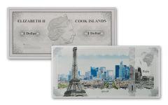 2018 Cook Islands 5 Gram $1 Silver Note Paris Famous Skylines Colorized GEM Proof-like