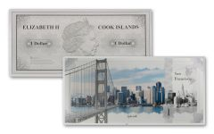 2018 Cook Islands 5 Gram $1 Silver Note San Francisco Famous Skylines Colorized GEM Proof-like