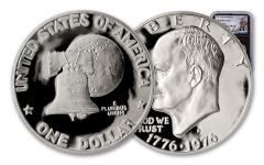 1976-S Eisenhower Dollar NGC PF69UC Charlie Duke Signed Label, Black Core