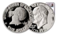 1976-S Eisenhower Dollar NGC PF69UC Charlie Duke Signed – White Core