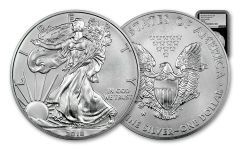 2018-W 1 Dollar 1-oz Burnished Silver Eagle NGC MS70 Early Releases Silver Foil Label - Black