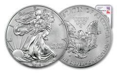 2018-W 1 Dollar 1-oz Burnished Silver Eagle NGC MS70 First Releases Mercanti Signed