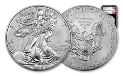 2018-W 1 Dollar 1-oz Burnished Silver Eagle NGC MS70 First Day Of Issue Mercanti Signed - Black