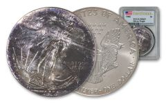 1986 $1 1-oz Silver Eagle Toned PCGS MS69 First Strike 81075965