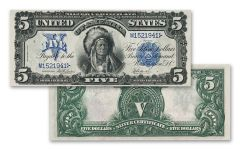 1899 Five Dollar Silver Certificate Oncpapa Indian Chief VF-XF