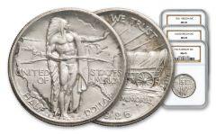 1926-1939 Oregon Trail Commemorative Half-Dollar 3-pc Set NGC/PCGS MS65