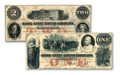 2-Piece 1859-1862 $1-$2 South Carolina Civil War Paper Currency Set VG-VF