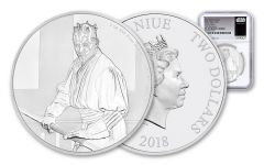 2018 Niue $2 1-Ounce Silver Star Wars Darth Maul NGC PF70UC First Releases – White Core