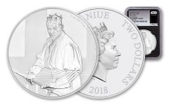 2018 Niue $2 1-Ounce Silver Star Wars Darth Maul NGC PF70UC First Releases – Black Core