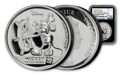 2018 Niue $5 2-oz Silver 90th Anniversary of Mickey Mouse Ultra High Relief NGC PF70UC First Releases Black Core