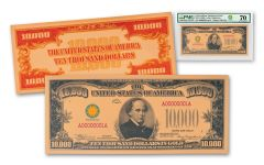 Smithsonian Series 1934 $10,000 24K Gold Certificate PMG Gem Unc 70