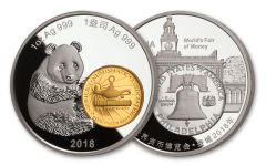 2018 China 1-oz Silver Philadelphia ANA Show Panda Proof