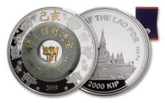 2019 Laos 2-oz Silver Lunar Green Jade Year of the Pig Proof