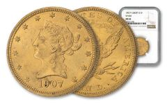 1907/7 $10 Gold Liberty Overdate VP-002 NGC MS62