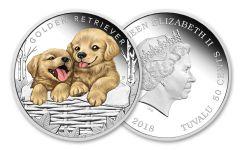 2018 Tuvalu 1/2 Ounce Silver Golden Retriever Puppy Proof