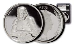 2018 Niue $5 2-oz Silver Star Wars Stormtrooper Ultra High Relief NGC PF70UC First Releases Black Core